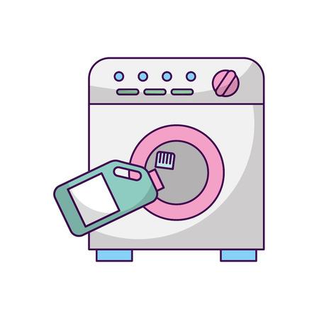 wash machine with detergent bottle vector illustration design Illustration