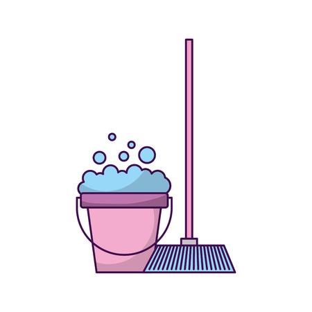 house broom with bucket vector illustration design