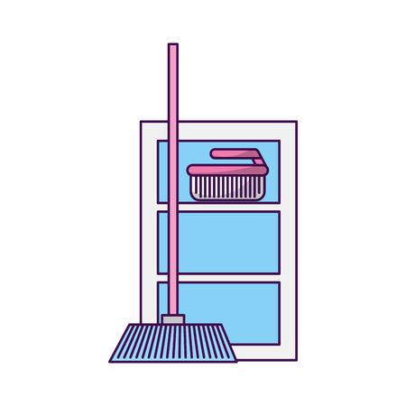 huisbezem met ontwerp van de geval het vectorillustratie