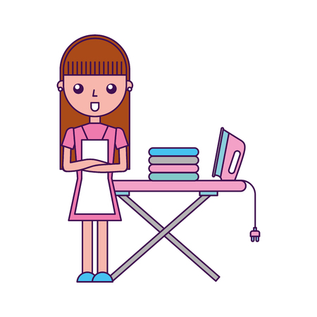 Housewife with ironing board vector illustration design Vettoriali
