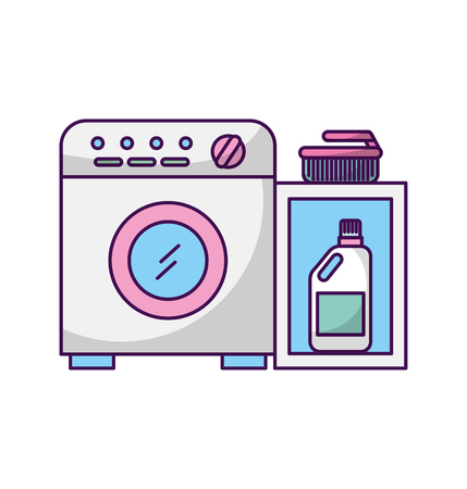 wash machine with detergent bottle vector illustration design 向量圖像