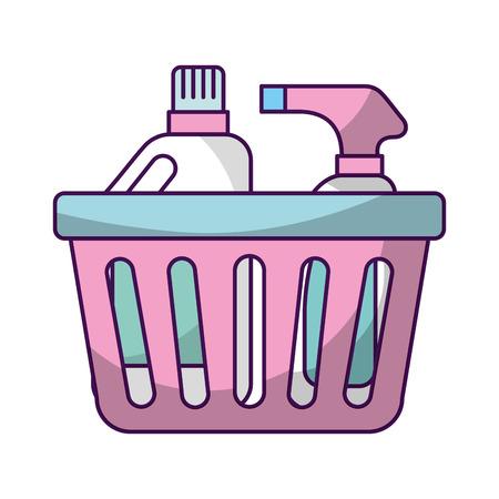 laundry basket with detergent bottles vector illustration design Illustration