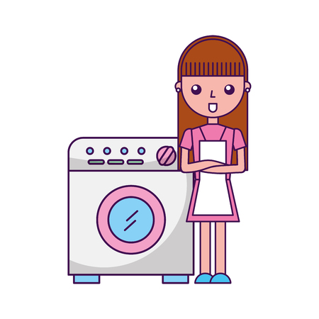 washhouse: wash machine with woman character vector illustration design