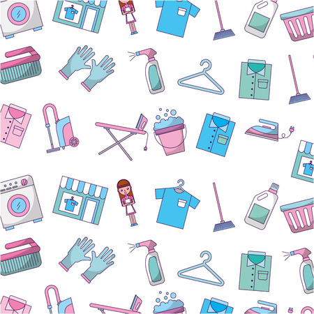 Laundry icons pattern background vector illustration design