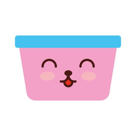 laundry basket kawaii character vector illustration design