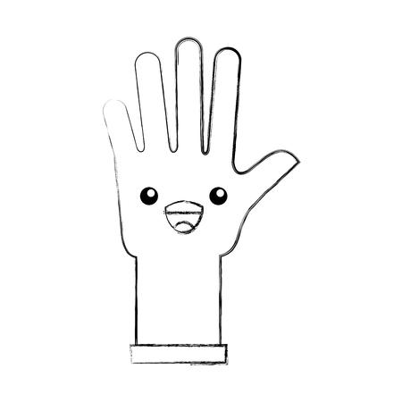 rubber gloves kawaii character vector illustration design
