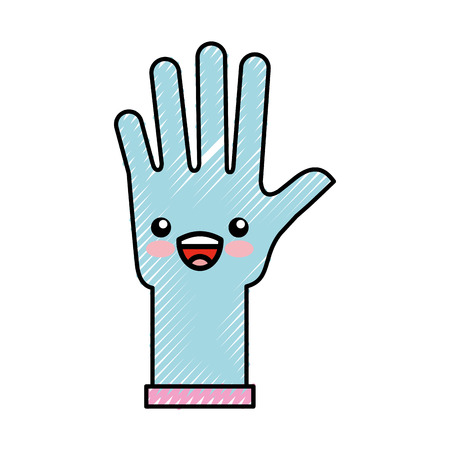 rubber gloves kawaii character vector illustration design