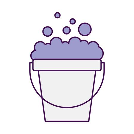 Wasserij emmer met schuim vector illustratie ontwerp