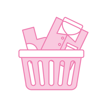 laundry basket with clothes vector illustration design Illustration