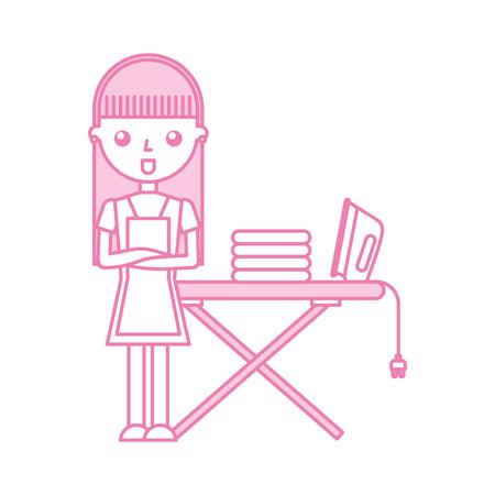 アイロン ベクトル イラスト デザインを持つ主婦  イラスト・ベクター素材
