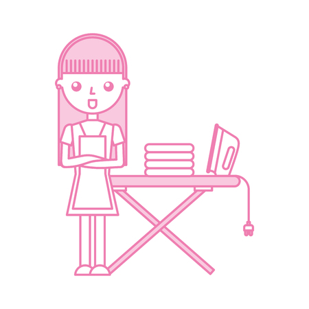 Housewife with ironing board vector illustration design Illustration