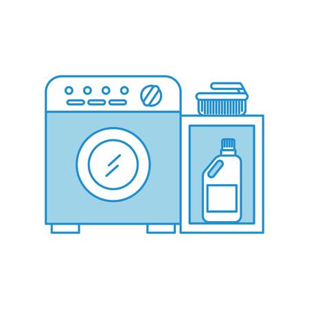 wasmachine met wasmiddel fles vector illustratie ontwerp