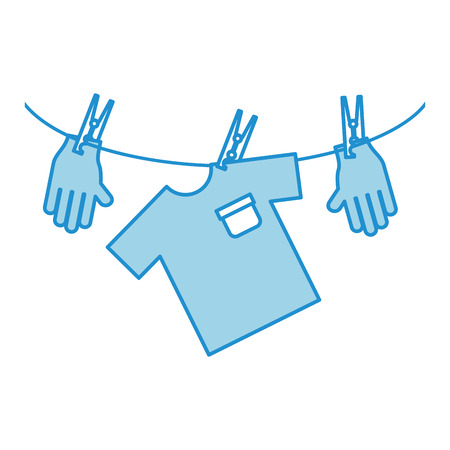 laundry care symbol: Laundry garments with gloves vector illustration design