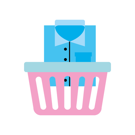 laundry basket with clothes vector illustration design 向量圖像
