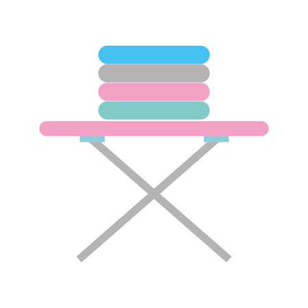 ironing board with pile of clothes vector illustration design
