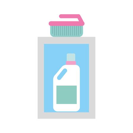detergent bottle with brush vector illustration design