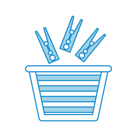 unwashed: laundry basket with clothespin vector illustration design Illustration