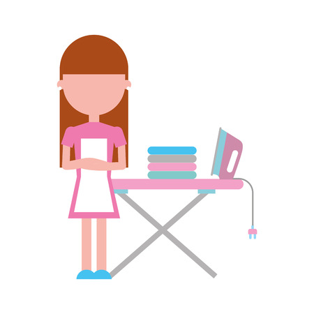 Housewife with ironing board vector illustration design Çizim
