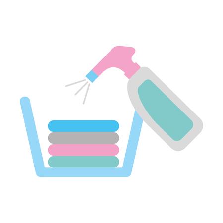 laundry basket with detergent bottle vector illustration design