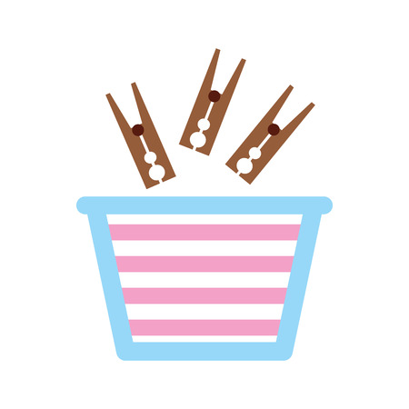 laundry basket with clothespin vector illustration design Ilustração