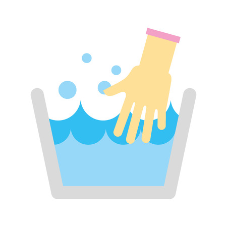 laundry tank with gloves vector illustration design