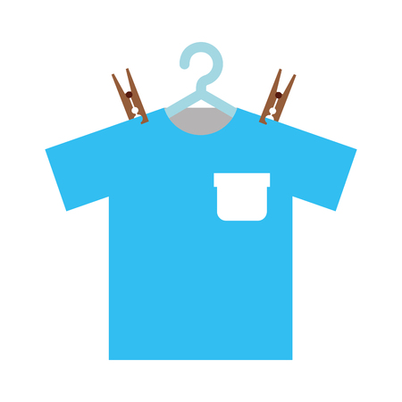 laundry care symbol: Laundry garments hanging icon vector illustration design