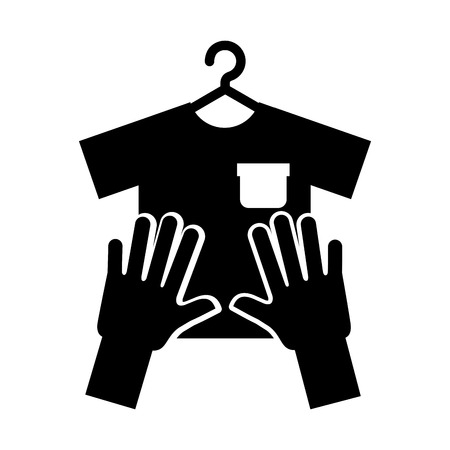 Laundry garments with gloves vector illustration design