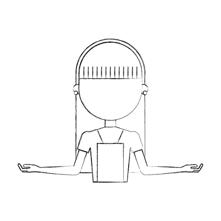 Housewife avatar character icon vector, outline illustration design