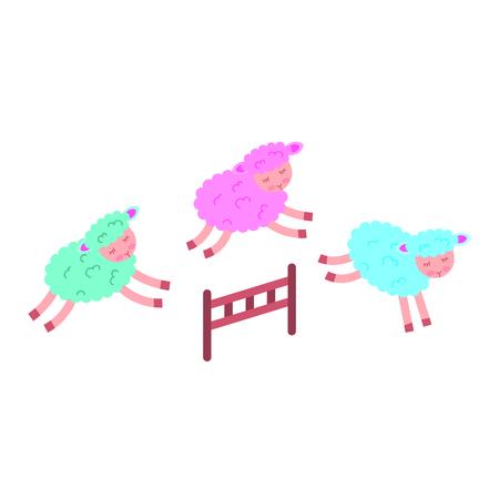 かわいい子羊の塀を跳ぶベクトル イラスト デザイン