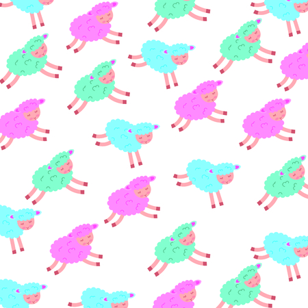 Cute lamb character pattern vector illustration design Illustration