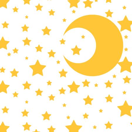 cute moon and stars pattern vector illustration design