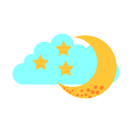 cloud sky with mon and stars vector illustration design Illustration
