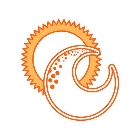 cute moon with sun vector illustration design Illustration