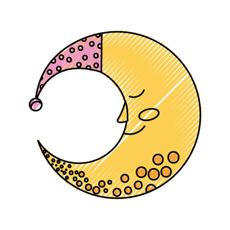 Luna carina con progettazione dell & # 39 ; illustrazione di vettore del cappello di sonno Archivio Fotografico - 82957935