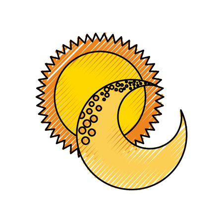 cute moon with sun vector illustration design Ilustração