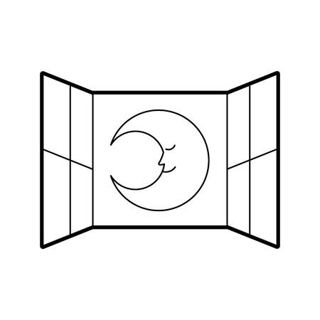 Camera da letto delle finestre con il disegno sveglio dell'illustrazione di vettore della luna Archivio Fotografico - 82960672