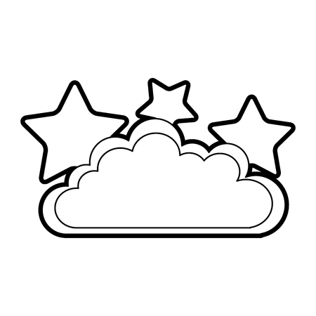 hung: cloud sky with stars vector illustration design