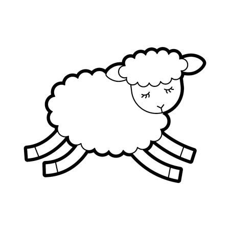 Illustrazione vettoriale di icone di carattere di agnello carino Archivio Fotografico - 82960681