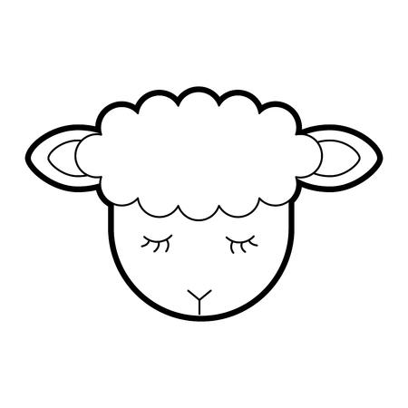 Illustrazione vettoriale di icone di carattere di agnello carino Archivio Fotografico - 82960682