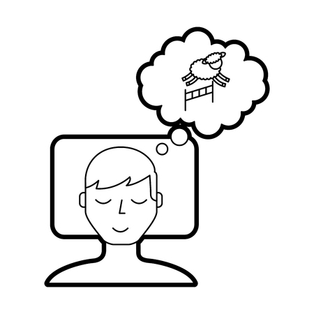 Man counting sheep to sleep vector illustration design Illustration