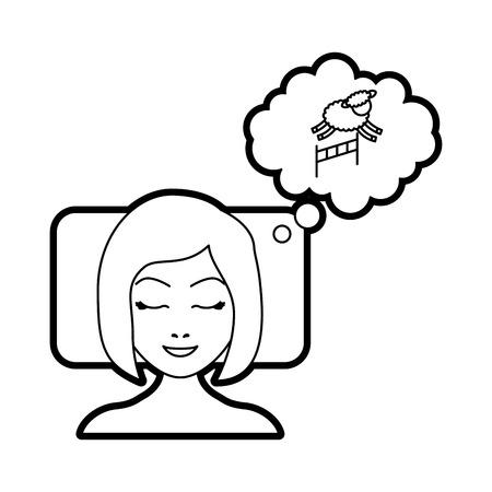 estereotipo: mujer contando ovejas para dormir diseño de ilustración vectorial