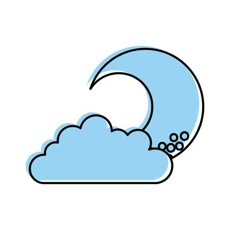 cute moon with cloud vector illustration design 向量圖像