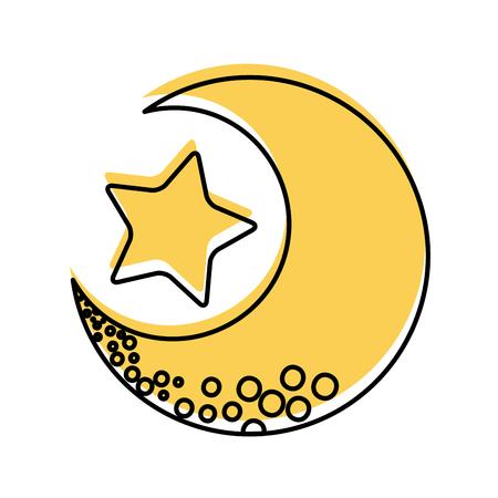 Schattige maan met ster vector illustratie ontwerp