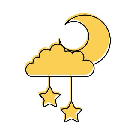 月と空の雲や星ベクトル イラスト デザイン