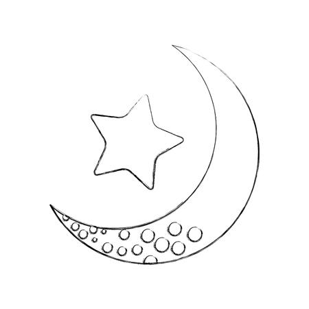 lune mignonne avec étoile conception illustration vectorielle