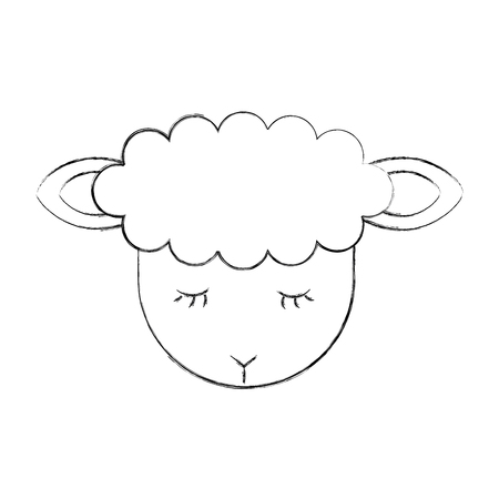 Cute lamb character icon vector illustration design
