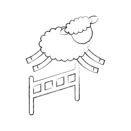 Cute lamb jumping the fence vector illustration design Illustration