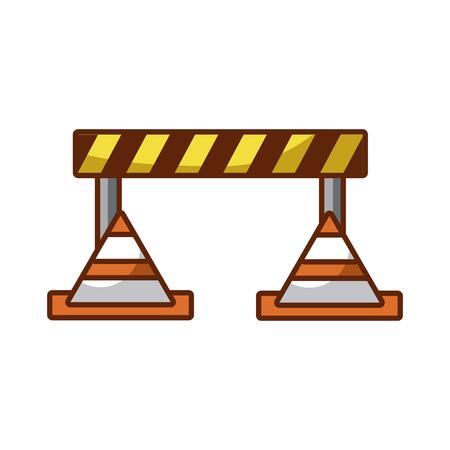 verkeers hek met kegels vector illustratie ontwerp
