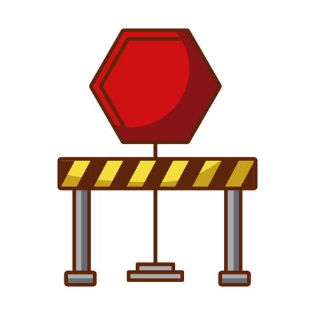 traffic signal with fence vector illustration design Illustration