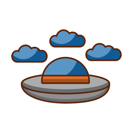 ufo flying with clouds vector illustration design Çizim